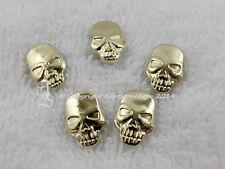10 Hotfix Skull Totenkopf Bügelnieten Nieten Gold Karostonebox