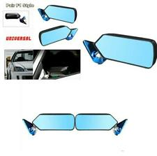 2 Pcs F1 Style Carbon Fiber Look Side Mirror w/Blue Mirror Surface Metal Bracket