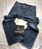 Women's London Jeans, Classic Stretch Denim Flare Leg Faded Blue, Size 14