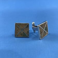 Sterling Silver Inlaid Turquoise Mexico Cufflinks Modernist Square