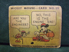 SCARCE 1935 MICKEY MOUSE BUBBLE GUM CARD #39