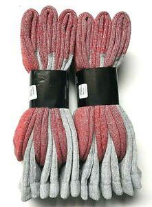 6 Pair Men's Merino Wool Gray w/ Red Bottom Hunting/ Hiking Boot Sock SZ 13-15.
