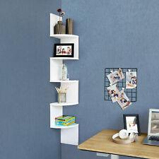 5 Tier Corner Shelf Floating Wall Shelves Storage Display Bookcase White Bedroom