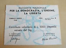 BANCONOTA 5000 LIRE  SOTTOSCRIZIONE DELLA DC ELEZIONI POLITICHE LIBERTAS 1948