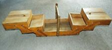 Old/vintage wooden concertina/ cantilever sewing box with 3 tiers, full of charm