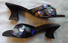 NEW IN BOX! Amanda Smith Sandals, 7 1/2, BLACK SATIN AND SEQUINS!