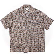 Tori Richard Mens Hawaiian Shirt M Brown Blue Beige Ornate Paisley Print USA