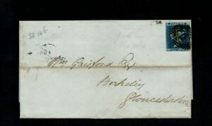 1846. COVER. QV 2d BLUE IMPERF. SG No.14. LONDON-BERKELEY (GLOS). c£350+