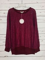 Umgee Boutique Women's S Small Burgundy Lace Cute Top Blouse Sweater NEW TAGS