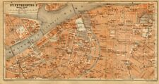 St. Petersburg II city centre town/city plan. Russia. BAEDEKER 1912 old map