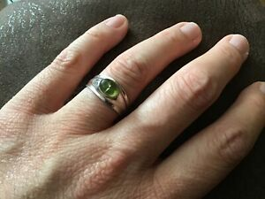 STERLING SOLID SILVER 925 UNUSUAL GEM RING SIZE Q NOT SCRAP