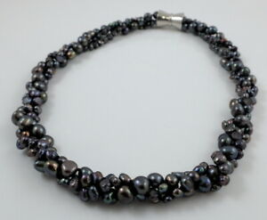 Black Freshwater Baroque Pearl Necklace Strong Magnetic Clasp 3-Strand 19-21''