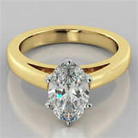 2.00 Ct Oval Cut Solitaire Diamond Engagement Ring 14K Solid Yellow Gold Rings
