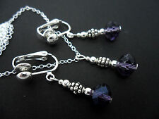 A  PURPLE AMETHYST CRYSTAL NECKLACE AND CLIP ON  EARRING SET. NEW.