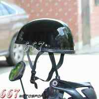Retro Motorcycle Scooter Low Profile For Harley Half Face Helmet Open Face Black
