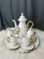 White & Gold Trim miniature doll tea set American girl size Baum company