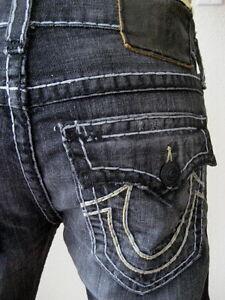 True Religion Mens Jeans 33 Ricky Super T $338 Grey Black New