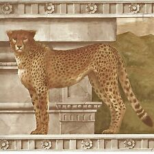Golden Cheetah Cats on Architectural Ruins - ONLY $9 - Wallpaper Border A180