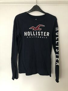 Girls / Ladies Slim Long Sleeve HOLLISTER T-shirt Navy Size XS New Without Tags