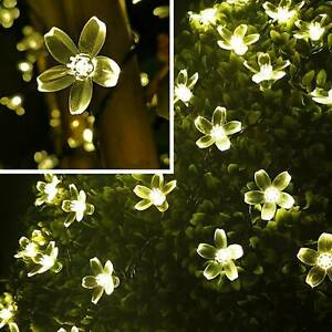 50LED Solar Power Flower Fairy Garden Lights String Outdoor Party Wedding Xmas