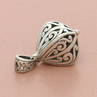 blushed sterling silver 3d scroll fob pendant