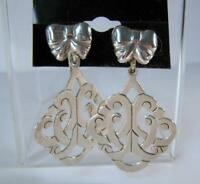 Old Mexican Sterling Silver Colonial Revival with Bow Screwback Earrings Mexico