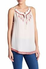 New WILLOW & CLAY Sz M Embroidered Key hole Ivory Tank Tee Blouse