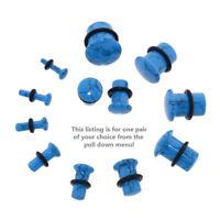 Pair of Single Flare Genuine Turquoise Stone Organic Ear Plugs