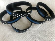 (1) Thin Blue Line Silicone Bracelet Wristband Police Support Law Enforcement