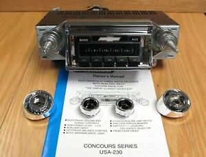 1957 CHEVY AM/FM RADIO CUSTOM AUTOSOUND USA-230 Fits in Stock Dash Opening