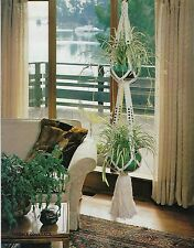 Double Plant Pot Hanger Pattern in Vtg Macrame Back to Basics #912 Craft Book
