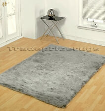 LARGE THICK SILVER GREY SOFT SHAGGY SHINY GLOSSY RUG 120x170