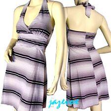 Black And White Striped V-Neck Fit Flare Halter Dress Sundress Summer Dresses S