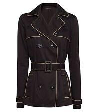 NEW Mango Contrasted Piping Trench Coat Jacket, Black, Size XXS