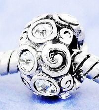 1 Bead - Strass Modul * Element Silber für Beads Armband - Kette* weiß - clear #