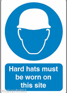 HARD HATS MUST BE WORN ON SITE SIGN 30CM X 25CM corflute construction signage
