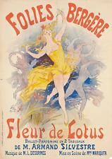 "Vintage French Folies Bergere, ""Fleur de Lotus Reproduction Poster, Wall Art"