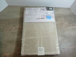 NEW Origins Microfiber Tablecloth BEIGE 60x84 Oval Spill Proof Easy Care
