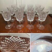 "Set of 12 Vintage WATERFORD CRYSTAL Alana Water Wine Goblets Glasses 6-7/8"""