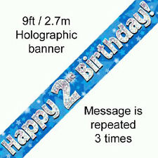 boys happy 2nd birthday party foil banner 2 today decoration blue banners