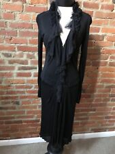Roberto Cavalli LBD Silk Lace V-Neck Long Sleeve Drop Waist Pleated 44 8