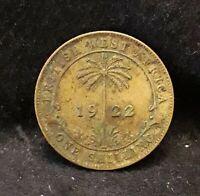 1922-KN British West Africa (BWA) shilling, scarce early type, KM-12a (BW2)