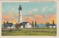 Wisconsin Racine Postcard Vintage Wind Point Lighthouse Unposted *Free Shipping*