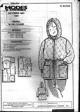 ▬► Patron Couture Modes et Travaux Parka 8 10 12 ans Octobre 1991