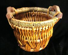 Collectible Wooden Woven Basket With Handles