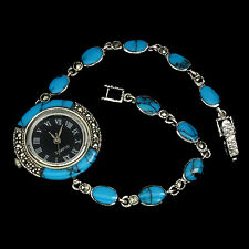 Sterling Silver 925 Genuine Cabochon Turquoise and Marcasite Watch 7.5 Inch #4