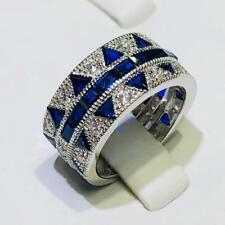 Platinum Sterling Silver Blue & White Sapphire Baguette Wide Eternity Ring Sz 8