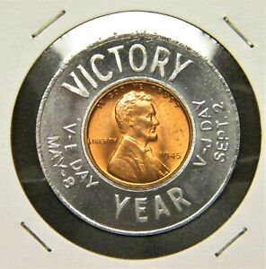 VICTORY YEAR V-E DAY / V-J DAY 1945-P (UNCIRCULATED) ENCASED WHEAT CENT...#849A
