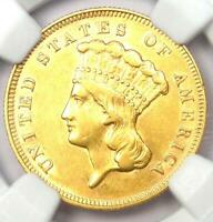 1878 Three Dollar Indian Gold Coin $3 - Certified NGC AU55 - Rare Coin!