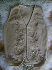 BLUMARINE ANNA MOLINARI beige wool embroidered waistcoat S M 4 6 8